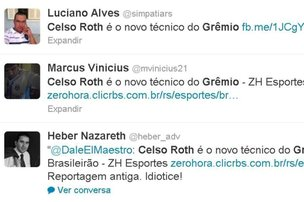 No Twitter, reportagem de 2011, quando Roth substituiu Julinho Camargo,  divulgada por torcedores (Twitter/Reproduo)
