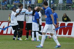 Última vitória gremista contra o Cruzeiro, em Minas, foi em 2012 (Estadão Conteúdo/Paulo Fonseca,Futura Press)
