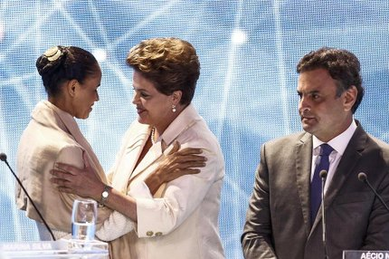 Marina, Dilma e Aécio no primeiro debate entre os presidenciáveis (AFP/Miguel Schincariol)
