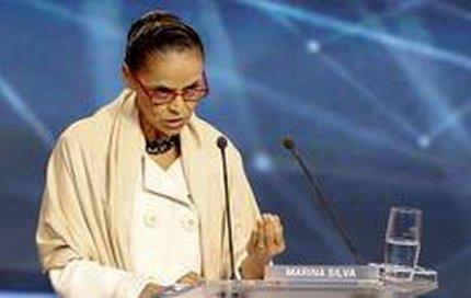 Marina Silva em debate entre candidatos à presidência, em São Paulo (AFP/Miguel Schincariol)