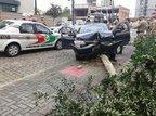 Suspeito perdeu o controle do veículo em uma curva e bateu contra uma árvore (Divulgação/Polícia Militar)
