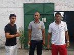 A partir da esquerda, Gabriel, Willian Paulista e Dinei foram dispensados na tarde desta sexta (Especial/Naiôn Curcino)