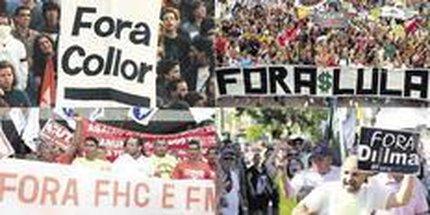 Protestos pedindo a saída dos então presidentes Fernando Collor, Fernando Henrique, Lula e da atual governante, Dilma (Arte ZH/Rafael Ocaña)