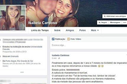 Gaúcha pode responder pelo crime de preconceito (Facebook/Reprodução)