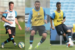 Arthur (E), Edinho (C) e Araújo (D) disputam uma vaga no meio-campo da equipe de Roger (BD ZH/Montagem sobre fotos)