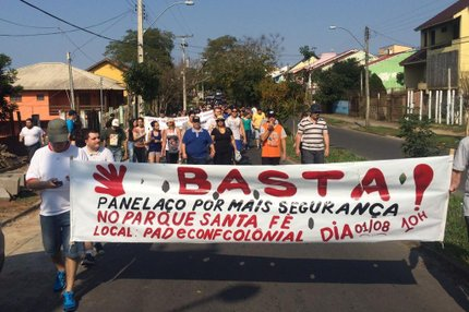 Dezenas de moradores pediram mais segurança em protesto nesta manhã (Arquivo pessoal/Taíze Moreira de Souza)