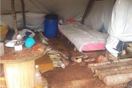 Lenhadores estavam acampados em tenda de lona, com laterais descobertas (Ministério Público do Trabalho/Divulgação)