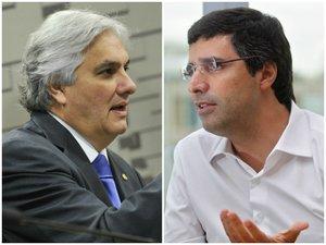 Líder do governo no Senado, Delcídio do Amaral (PT-MS), e o banqueiro André Esteves (Agência Senado e Estadão Conteúdo/Montagem sobre fotos)