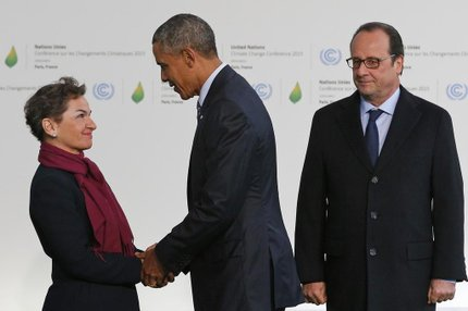 Christiana Figueres com Barack Obama e François Hollande na COP21 (POOL / AFP/CHRISTOPHE ENA)