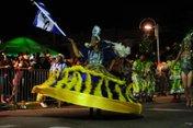 Porta-bandeira da escola de samba Serrinha em desfile na avenida Beira-rio (Agencia RBS/Salmo Duarte)