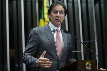 Eunício Oliveira acompanhou a votação da reforma trabalhista na Câmara dos Deputados que durou 10 horas (Agência Senado/Marcos Oliveira / Agência Senado)
