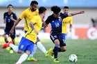 Jogador japonêsTakumi Minamino no amistoso contra o Brasil neste sábado (AFP/EVARISTO SA)