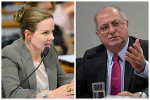 A senadora Gleisi Hoffman (PT-PR) e o marido da congressista, o ex-ministro Paulo Bernardo (Agência Senado e Agência Brasil/Marcos Oliveira e Antônio Cruz / Agência Senado e Agência Brasil)