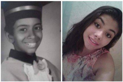 Os irmãos Vinícius Trindade, 11 anos, (E) e Karina Trindade, 19 anos, estão entra as quatro pessoas que morreram afogadas em cascata em Silveira Martins (Arquivo Pessoal/Arquivo Pessoal)