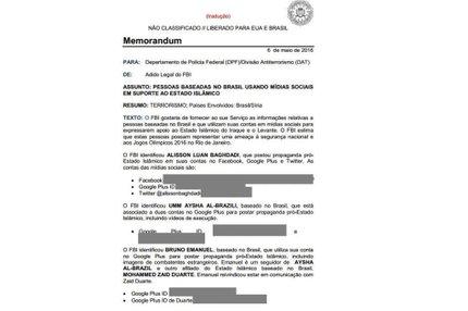 Documento anexado ao processo na Justiça Federal mostra troca de informações entre polícias federais dos EUA e do Brasil (Reprodução/Reprodução)