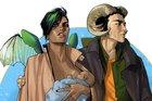 Alana, Marko e a bebê Hazel, os protagonistas de Saga (Divulgação/Fiona Staples,Devir)