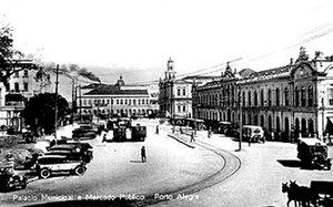 Cartão-postal do centro de Porto Alegre, provavelmente no final da década de 1920 (Banco de Dados/reprodução)