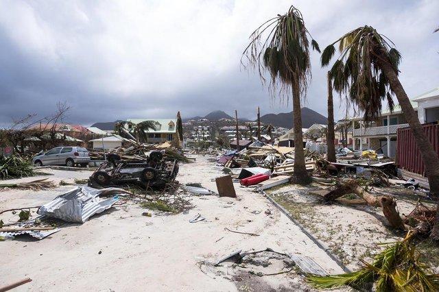 Ilha de Saint-Martin após a passagem do furacão Irma, no Caribe
