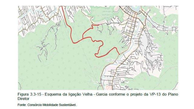 Mapa ligação Velha garcia