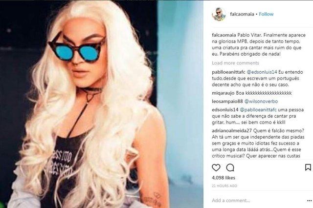 reprodução do instagram do cantor Falcão, falando de Pabblo Vittar
