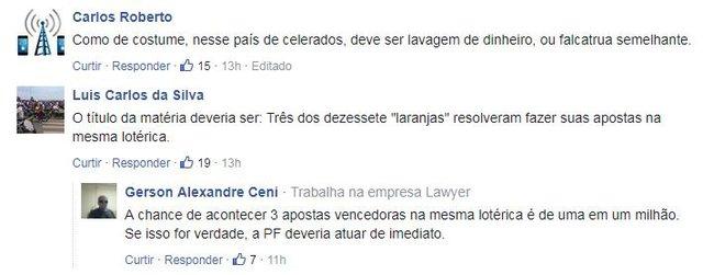Comentários na notícia do sorteio da Mega Sena da Virada