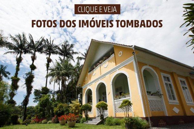 Arte para a matéria com a galeria de fotos dos imóveis tombados em Santa Catarina.