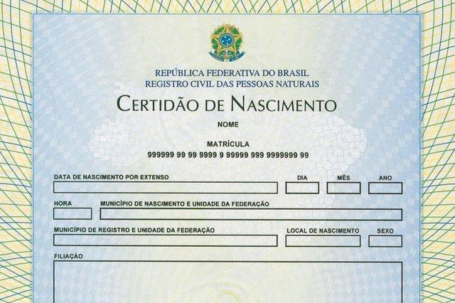 nova certidão de nascimento