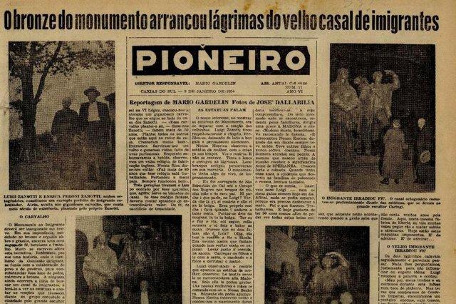 Capa do Pioneiro de 9 de janeiro de 1954, destacando reportagem de Mário Gardelin sobre o Monumento ao Imigrante. Na época, Gardelin era o editor do jornal.