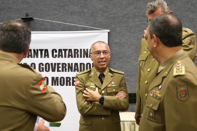 FLORIANÓPOLIS, SC, BRASIL, 16-02-2018: Comando da Polícia Militar de Santa Catarina. Comandante Araujo Gomes.