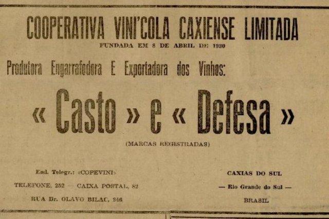 Anúncios publicados na primeira edição do jornal Pioneiro em 4 de novembro de 1948. Cooperativa Vinícola Caxiense