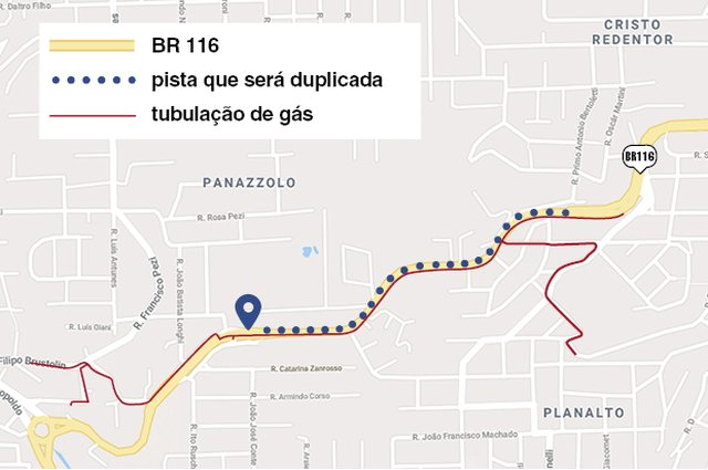 Trecho da BR-116 que receberá obras em Caxias