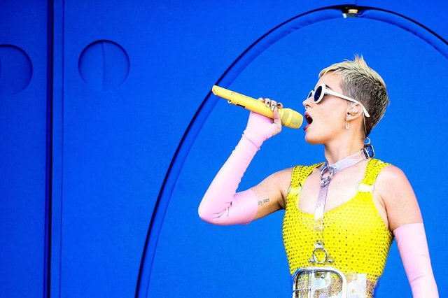 (FILES) This file photo taken on May 12, 2017 shows Katy Perry as she performs on stage during 102.7 KIIS FMs 2017 Wango Tango at StubHub Center in Carson, California.  Katy Perrys songs used to delight in first-time innocence -- she kissed a girl (and she liked it), and a night of love made her feel like she was living a teenage dream.Now 32, the pop superstar has discovered adulthood. On a new album, her sound is sultry and her experiences are anything but chaste.Witness, which comes out June 9, 2017, marks Perrys first album since 2013 and comes after the artist largely retreated for a year following the blockbuster success of her Prism album and tour. / AFP PHOTO / GETTY IMAGES NORTH AMERICA / Rich Fury