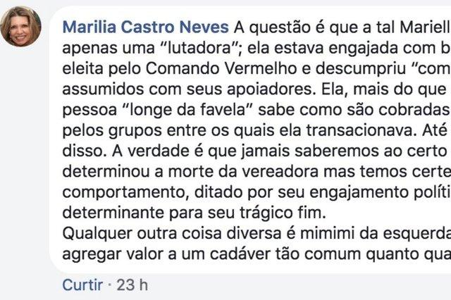 Comentário da desembargadora do Rio Marilia Castro Neves no Facebook em 16/03/2018 com fake news sobre a veradora Marielle Franco (PSOL), assassinada em 14/03/2018 no Rio