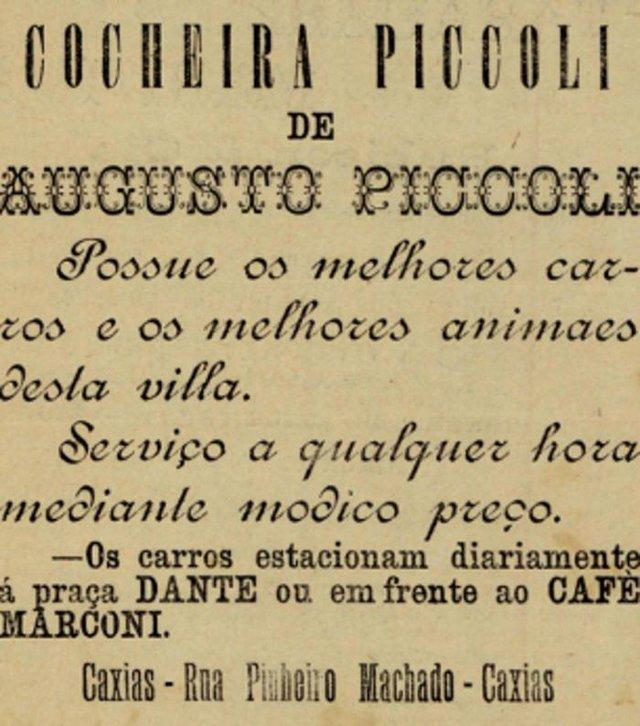 Anúncio da Cocheira Piccoli e seus carros de praça de tração animal em 1911.
