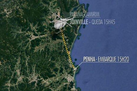 Aeronave caiu cerca de 20 minutos depois de decolar (Reprodução/NSC TV)