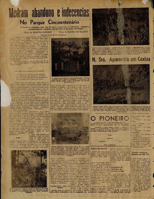 Matéria da primiera edição do jornal Pioneiro, em 4 de novembro de 1948, sobre as más condições do Parque Cinquentenário.