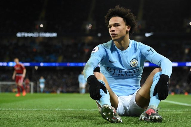 Manchester Citys German midfielder Leroy Sane reacts during the English Premier League football match between Manchester City and Watford at the Etihad Stadium in Manchester, north west England, on January 2, 2018. / AFP PHOTO / Oli SCARFF / RESTRICTED TO EDITORIAL USE. No use with unauthorized audio, video, data, fixture lists, club/league logos or live services. Online in-match use limited to 75 images, no video emulation. No use in betting, games or single club/league/player publications.  /