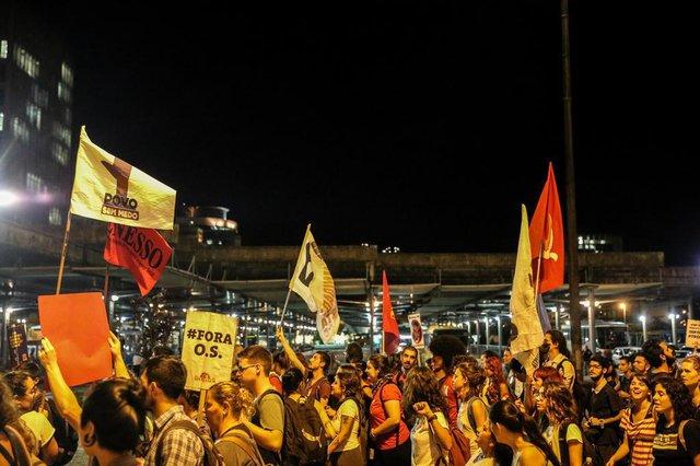 FLORIANÓPOLIS, SC, BRASIL - 25/04/2018Protesto do sindicato dos servidores públicos Sindserv contra as Organizações Sociais