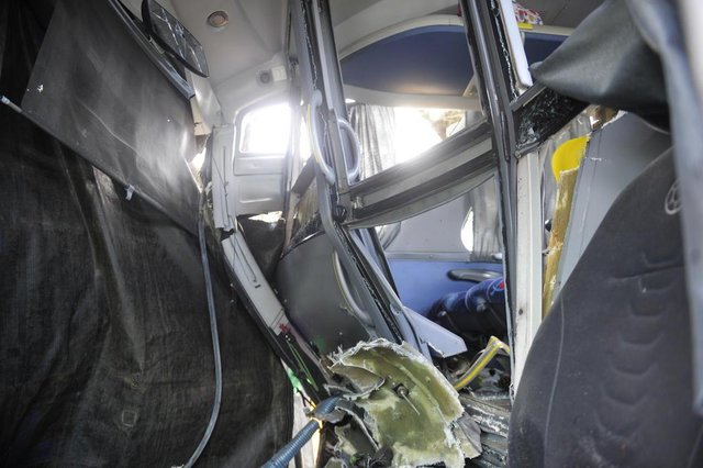 JOINVILLE,SC,BRASIL,29-04-2018.Acidente envolvendo um ônibas da Real Express e um caminhão deixa pelo menos 17 pessoas feridas e um em óbito.(Foto:Salmo Duarte/A Notícia)Indexador: Maykon Lammerhirt
