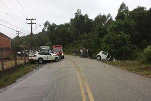 Colisão foi registrada no km 19 da SC-441 (Divulgação/Polícia Militar Rodoviária)