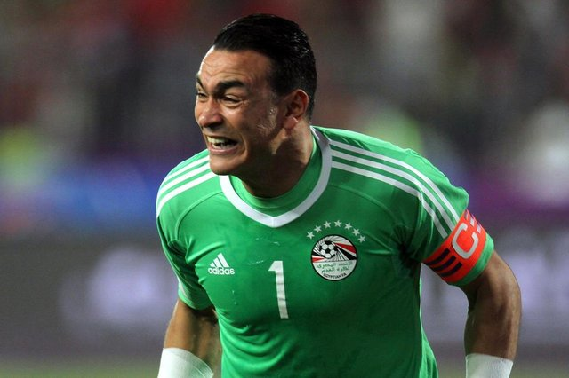Egypts Essam El-Hadary celebrates wining against Congos team during their World Cup 2018 Africa qualifying match between Egypt and Congo at the Borg el-Arab stadium in Alexandria on October 8, 2017.Liverpool striker Mohamed Salah converted a stoppage-time penalty to give Egypt a dramatic 2-1 win over Congo Brazzaville Sunday and a place at the 2018 World Cup in Russia. / AFP PHOTO / TAREK ABDEL HAMID