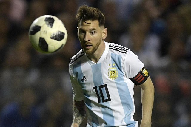 Argentinas forward Lionel Messi is pictured during the international friendly football match against Haiti at Boca Juniors stadium La Bombonera in Buenos Aires, on May 29, 2018.  / AFP PHOTO / JUAN MABROMATA