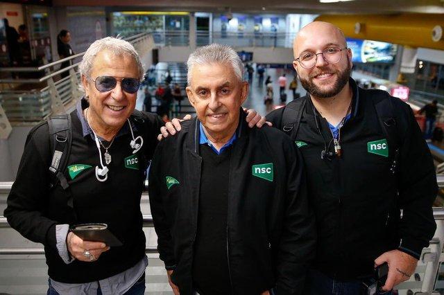 FLORIANÓPOLIS,SC, BRASIL, 11-06-2018: Equipe NSC que vai fazer a cobertura da Copa na Rússia. O fotógrafo Diorgenes Pandini , Cacau Menezes e Roberto Alves.