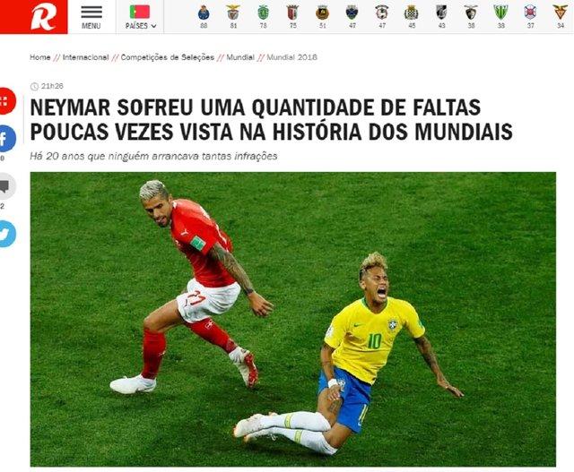 Imprensa internacional repercute lances polêmicos de Brasil x Suíça ... 3fd6babea93b6