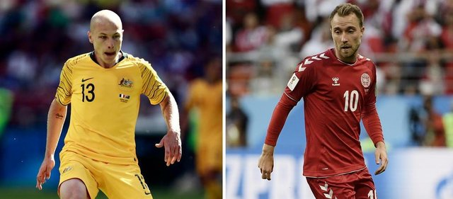 (COMBO) This combination of pictures created on June 19, 2018 shows Australias midfielder Aaron Mooy in Kazan on June 16, 2018 (L) and Denmarks midfielder Christian Eriksen in Saransk on June 16, 2018. Australia will play Denmark in their Russia 2018 World Cup Group C football match at the Samara Arena in Samara on June 21, 2018. / AFP PHOTO / Benjamin CREMEL AND Filippo MONTEFORTE