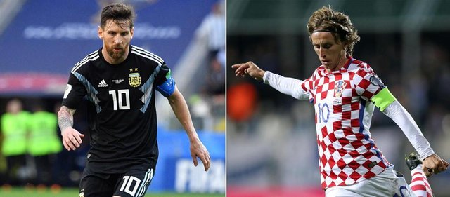 (COMBO) This combination of pictures created on June 19, 2018 shows Argentinas forward Lionel Messi in Moscow on June 16, 2018 (L) and Croatias midfielder Luka Modric in Rijeka on October 6, 2017. Argentina will play Croatia in their Russia 2018 World Cup Group D football match at the Nizhny Novgorod Stadium in Nizhny Novgorod on June 21, 2018. / AFP PHOTO / Mladen ANTONOV AND STR