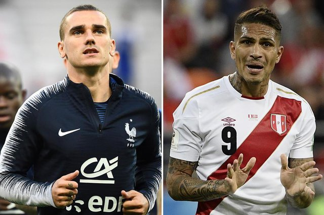 (COMBO) This combination photo created on June 19, 2018 shows Frances forward Antoine Griezmann in Nice on June 1, 2018 (L) and Perus forward Paolo Guerrero in Saransk on June 16, 2018. France will play Peru in their Russia 2018 World Cup Group C football match at the Ekaterinburg Arena in Ekaterinburg on June 21, 2018. / AFP PHOTO / Franck FIFE AND Filippo MONTEFORTE