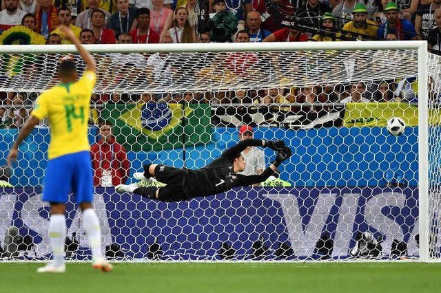 2a367a671938f Switzerlands goalkeeper Yann Sommer watches a goal scored by Brazils  forward Philippe Coutinho (not in