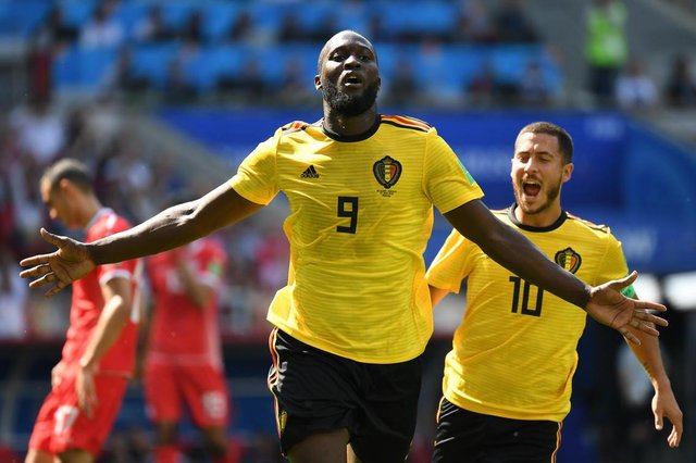 Belgiums forward Romelu Lukaku celebrates scoring his teams second goal during the Russia 2018 World Cup Group G football match between Belgium and Tunisia at the Spartak Stadium in Moscow on June 23, 2018. / AFP PHOTO / Kirill KUDRYAVTSEV / RESTRICTED TO EDITORIAL USE - NO MOBILE PUSH ALERTS/DOWNLOADSEditoria: SPOLocal: MoscowIndexador: KIRILL KUDRYAVTSEVSecao: soccerFonte: AFPFotógrafo: STF