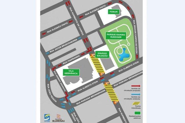 Mapa com as mudanças da Rua Humberto de Campos até a Rua Itapiranga, no bairro da Velha